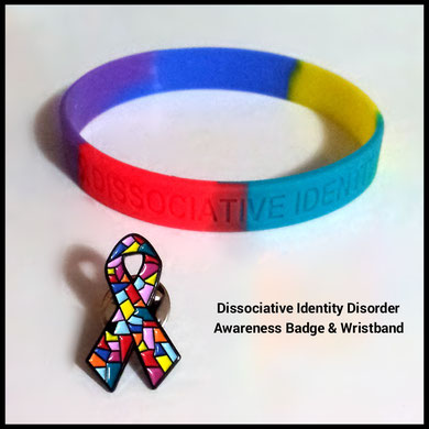 Dissociative Identity Disorder wristband and DID ribbon pin badge can be bought together
