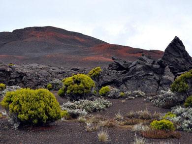Paysage à proximité du volcan Piton de la Fournaise. Sources: Géo fond d'écran.