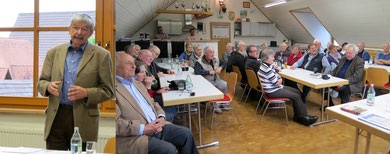 Hans-Dieter Frauer beim Vortrag           interessierte Zuhörerschaft in Großvillars