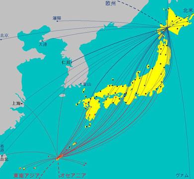 札幌と沖縄の現行路線とハブ化イメージ/ Japan's Hub & Spoke Image