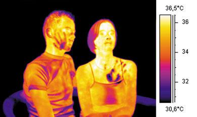 Claque d'une jeune fille sur le visage d'un garçon qui a posé sa main sur sa poitrine, thermographie infrarouge © Flir
