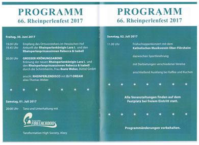Das diesjährige Programm des Rheinperlenfests (zur Vergrößerung klicken).