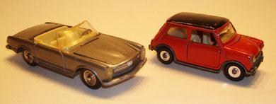 Los dos modelos anteriores se basaban en estos de Dinky: el Mini Minor, ref. 183, y el Mercedes 230 SL, ref. 516.