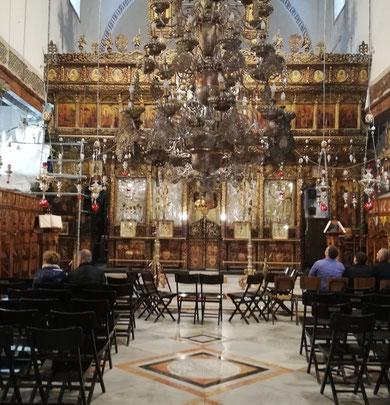 Ценральный алтарь, Кафоликон, Греко-Православной Церкви, алтарь из кедра - дар царской России.