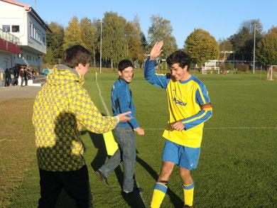 Freude beim B- Jugend Captain Matthias Miltz