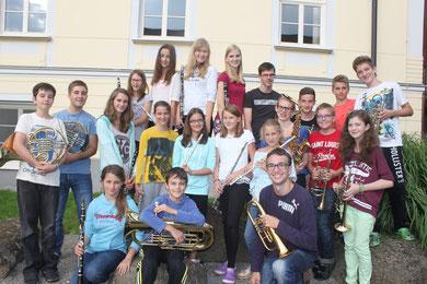 Gruppenfoto beim Jungmusikerlager 2014 in Otterbach