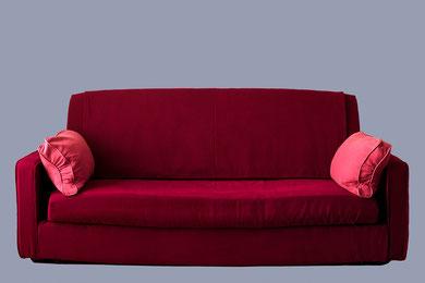 canapé clic clac tissu rouge