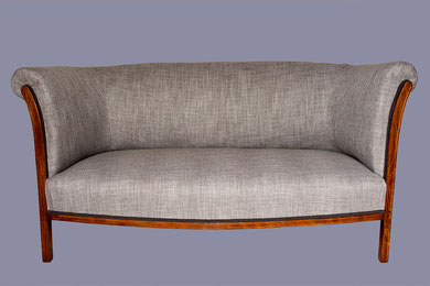 restauration d'un canapé Art Déco tissu lin gris