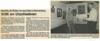 "Pressebericht, ""Heilbronner Stimme"", Donnerstag 13.12.1984, Jens Walko"