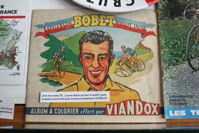 """Louison Bobet vantant les mérites de sa potion préférée dans une """"réclame"""" à destination des enfants (album à colorier)"""