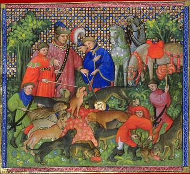 Gaston Phébus, Livre de chasse du XVème siècle. Comment on doit faire le droit au limier et la curée au chien.