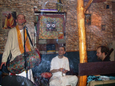 bhakta Milos, myself and Marekji in Sala's tea house