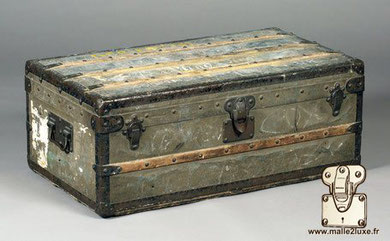 Louis Vuitton Zinc and Brass Cabin Trunk Date: 1895  Abandoned, oxidation took processions of this legendary baggage Dimension: 88 cm x 50 cm x 34 cm