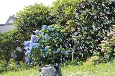 akkubetriebene Seifenblasenmaschine mit Fernbedienung Seifenblasen im Garten zum Ausleihen
