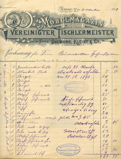 Rechnung für die Möblierung des Hauses vom 11.10.1898