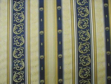 Möbelbezugstoff Bordüren, blau und beige