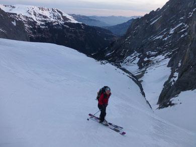 Skitour Wetterhorn, Skihochtour Wetterhorn, Rosenlaui, Rosenlauigletscher, Engelhornhütte, Dossenhütte, Rosenlauibiwak, Couloir