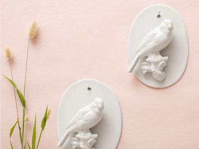 Wandvogel auf Platte Porzellan