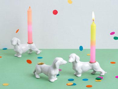 Kerzenhalter Teller mit Tülle rund Porzellan