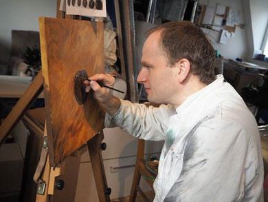 Christoph Clasen, Staffelei, Atelier Hasselbrook, Serie Kaffee, Acryl auf Leinwand