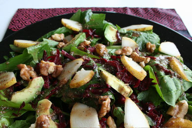 Raw Spinach with Pear, Gorgonzola, Red Beet, Walnuts and Pomegranate