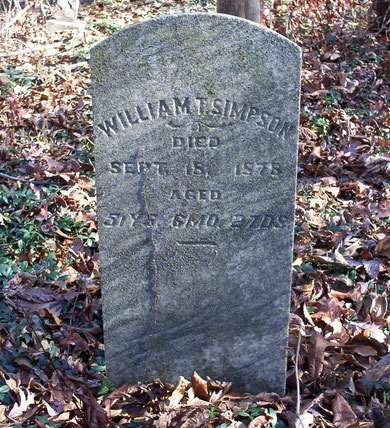Headstone marking the grave of William T. Simpson (1827-1878), a veteran of the Civil War.