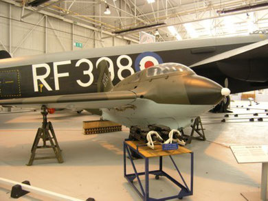 RAF Cosford - A Messerschmitt Me 163 in front of RF398.