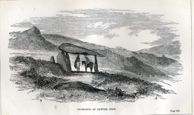 Cromlech at Pentre Ifan. (19th Century Engraving).