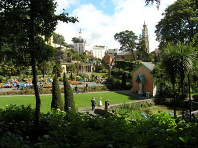 Portmeirion, the Village Green and Piazza beyond.