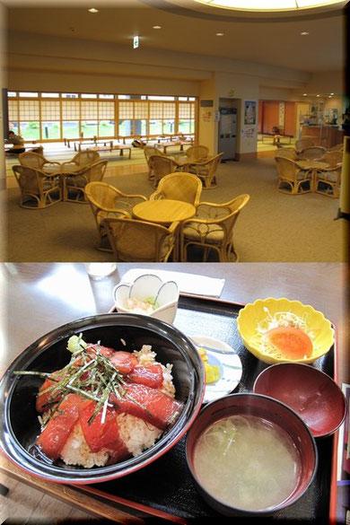上)温泉の休憩所 下)休憩所とは別の併設レストランのまぐろ漬け丼