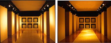 左が壁に照射。右が床に照射。