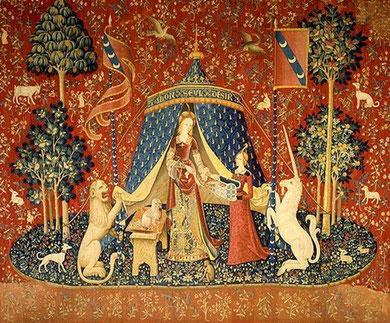 """Гобелен """"Дама с единорогом"""" из музея Клюни в Париже"""