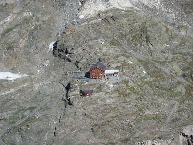 Stettiner Hütte von der Hohen Weißen gesehen