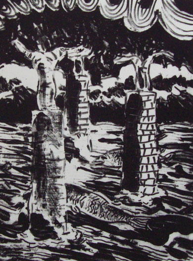 Aguada litografica, reserva de goma  y manera negra