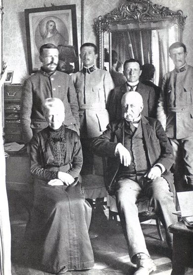 At Sarcenat, 1917.  Behind M. and Mme. Teilhard de Chardin, from left is Pierre, Gabriel, Xavier le Marechal, and Olivier.  Olivier died of wounds in 1918 and another brother, Gonzague was killed in 1914.