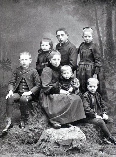 Emmanuel Teilhard de Chardin's children around 1891 - sitting, Pierre at left, Francoise, Joseph, Gabriel. -  Standing Olivier, Alberic, Marguerite-Marie