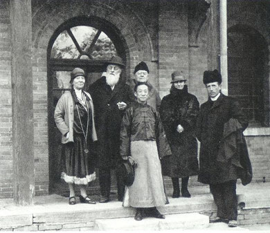 Peking, January 1927. From left: M. and Mme. Lacroix, M. Bouillard, Wong, Mme. Bloch, Pere Teilhard.