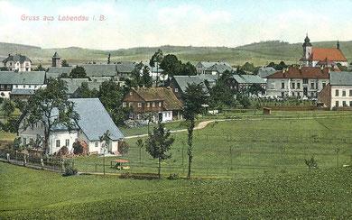 Lobendau,  Ortsansicht aus dem Jahre 1910