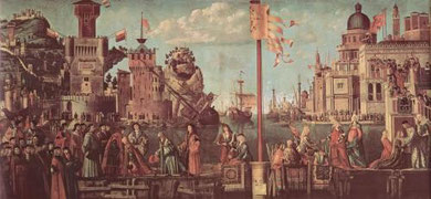 The Legend of Saint Ursula by Vittore Carpaccio (1495), showing careening techniques