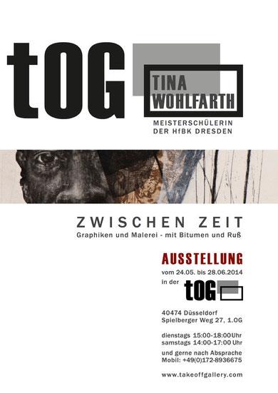 """Ausstellung, tOG, take OFF GALLERY, Tina Wohlfarth, """"ZWISCHEN ZEIT"""", Druckgraphik, Bitumen, Ruß, Moderne Kunst,"""