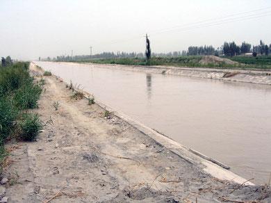オアシスを巡る主幹水路(新疆)
