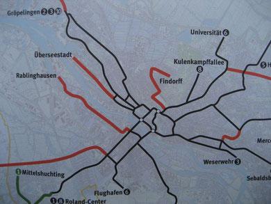 Der Plan: Neue Straßenbahnlinie nach Findorff - klicken zum Vergrößern (Quelle Brünjes)