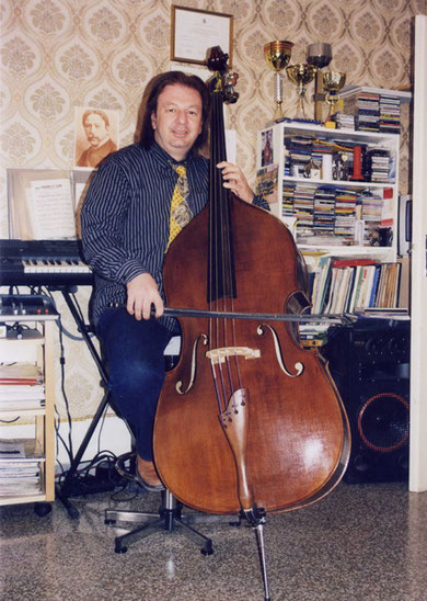 "With my new double bass made by ""Donato Rubino"", inspired from the Naples' School."