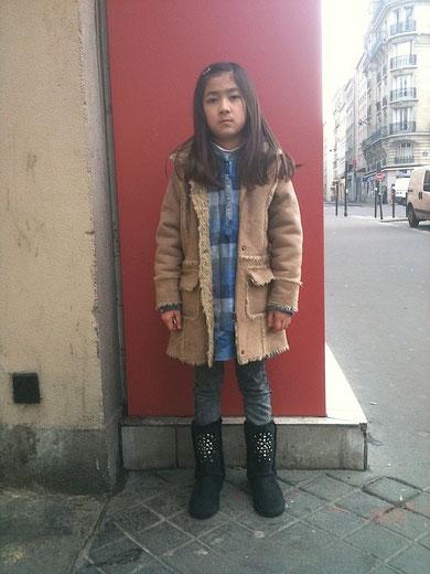 PARIS、こども、ファッション、ムートンブーツ、ワンピース、スナップ