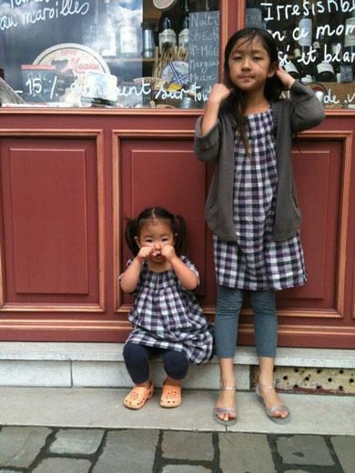 パリ、スナップ、子供、ファッション