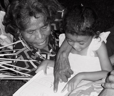 Hue with her granddaughter