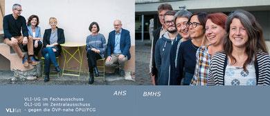 Bei den Ergebnissen sticht die Vorarlberger Lehrer*innen Initiative (VLI) aus der Masse heraus. Sowohl in AHS- als auch im BMHS-Fachausschuss haben die VLI-UG um Gerhard Pusnik (AHS) und Katharina Bachmann (BMHS) deutliche (60 % / 70%) absolute Mehrheiten