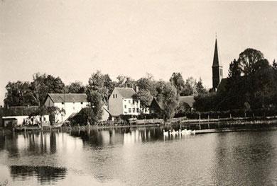 Vor 1945 - Dorfteich im Frühjahr