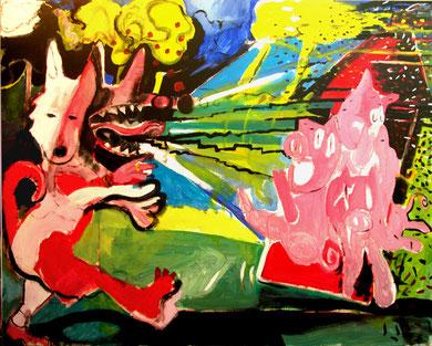 """""""Lobito y tres cerdos"""", 162x130cm. 2009"""