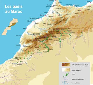 Carte des oasis du Maroc